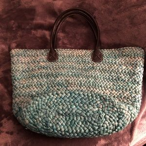 Handbags - Turquoise Straw Tote Beach Bag NEW